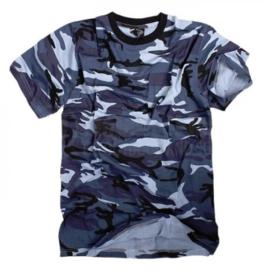 T shirt Blue Urban camo - alleen maat XXL op voorraad