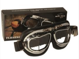 Piloten bril of brommer bril - chroom - echt metalen frame