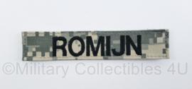 """US Army Acu camo naamlint """"Romijn"""" met klittenband - origineel"""