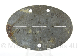 WO2 Duitse erkennungsmarke - Freiwillige 2 II T.A.B - persoonsnummer 819 - origineel