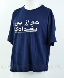 Blauw t-shirt Korps Mariniers Who's your Baghdaddy! - Maat L - Origineel