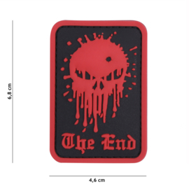 "Embleem 3D PVC met klittenband - Skull ""The End"" Red- 6,8 x 4,6 cm."