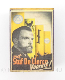 WO2 Duits luciferdoosje van echt hout - Staf de Clercq Vooruit - afmeting 6 x 4 cm - replica