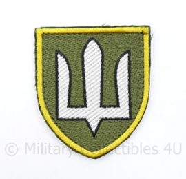 Ukrainian Army patch emblem Flag Cossack Sables White on Green with yellow edge - met klittenband  - 8,5 x 7 cm - origineel