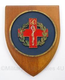 KL Landmacht wandbord Geneeskundige Eenheid of Rode Kruis - afmeting 14 x 18,5 cm - origineel