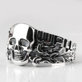 WestWall met doodskop ring - echt zilver - maat 8, 9 of 10