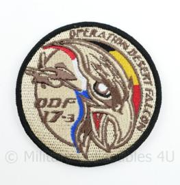 BAF Belgian Air Force Operation Desert Falcon ODF 17-3 embleem  met klittenband- 9 cm. diameter