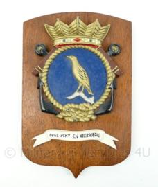 """Koninklijke Marine wandbord - Marinebasis Parera op Curacao - """"Opgewekt en vrijmoedig"""" - afmeting 18,5 x 28 x 1 cm - origineel"""