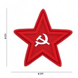 Russische USSR rode ster embleem 3D PVC   -  klittenband - 6 x 6  cm