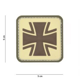 Embleem 3D PVC met klittenband - Duits Kruis - coyote - 5 x 5 cm.