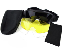 Tactical Army Goggle  - nieuw - met 3 soorten glazen - BLACK