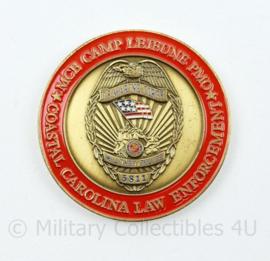 Zeldzame coin USMC US Marine Corps MCB Camp Lejeune PMO Coastal Carolina Law Enforcement   - diameter 4,5 cm - origineel