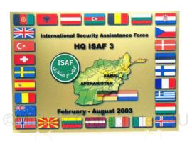 Wandbord ISAF HQ ISAF 3 van metaal - februari/augustus 2003 - afmeting 19 x 27 cm - origineel