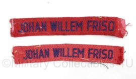 MVO straatnaam PAAR Johan Willem Friso  - 11,5 x 2 cm origineel