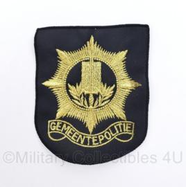 Zeldzaam Gemeentepolitie embleem - goud op zwart - 8 x 10 cm - origineel