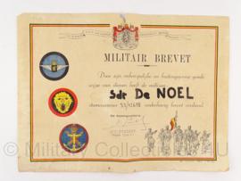 Belgisch Militair Brevet oorkonde - Sdt de Noel - origineel