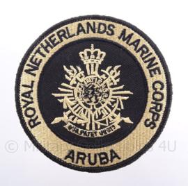"KM Koninklijke Marine, Korps Mariniers Aruba embleem ""Royal Netherlands Marine Corps Aruba"" - met klittenband - diameter 9 cm"