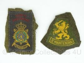Korps Mariniers oud model emblemen set - geknipt van uniform  - origineel
