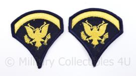 US Army Rank patch pair - Specialist - geel op donkerblauw - 8,5 x 7,5 cm - origineel