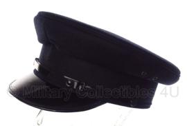 Politie platte pet - zonder insigne  -  Donkerblauw, grof wol, doorzichtige voering - maat 56, 57 of 58 - origineel