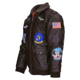 KINDER Flight Jacket met emblemen - bruin PU leer - maat XS t/m XL - nieuw gemaakt