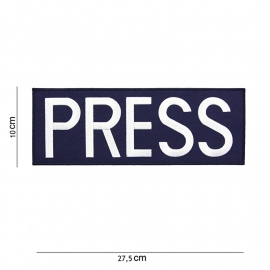Kleding of tactical vest embleem rugstrook - rechthoekig - PRESS embleem - 27,5 x 10 cm (donkerblauw met wit)