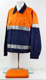 Veiligheidskleding werkjack mét broek blauw oranje reflecterend - maat Medium - NIEUW - origineel