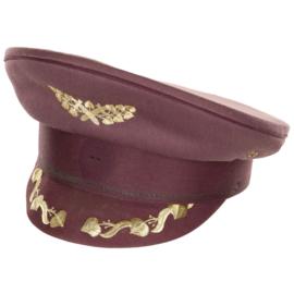 Militaire platte pet Bordeaux rood met klepversiering - hoge officier - maat 55 tm. 57 cm.  - origineel