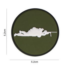 Sniper Groen rond embleem PVC - 5,2 x 5,2 cm