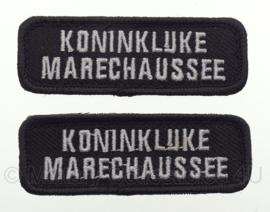 KMAR Koninklijke Marechaussee straatnamen set - zwart/wit - met klittenband - 8 x 2,7 cm