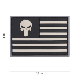 Embleem 3D PVC met klittenband - Punisher USA vlag Grey/Black  -7,3 x 5 cm.