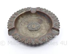 Defensie asbak koper met infanterie embleem erop - diameter 8 cm - origineel