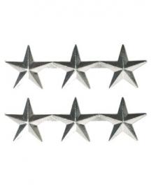 US rank insignia Lieutenant general 3 ster generaal - 1 PAAR zilver