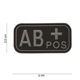Embleem Bloedgroep AB+ positief -  ZWART / GRIJS - met klittenband - 3D PVC - 5 x 2,5 cm.