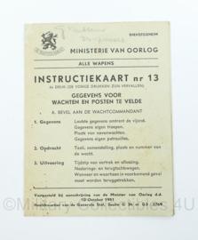 MVO instructiekaart nr. 13 - uit 1951 - gegevens voor wachten en posten te velde - origineel