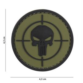 Embleem 3D PVC met klittenband - Punisher Vizier - groen 4,3 cm. diameter