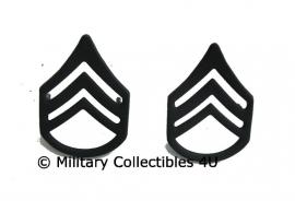 US US kraag rang rank insignia Staffsergeant  - black - 1 PAAR