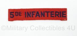MVO straatnaam enkel 5e Regiment Infanterie - 10 x 2 cm - origineel