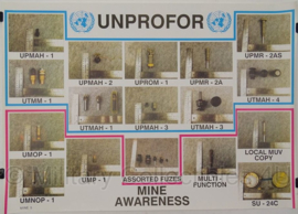 UN United Nations leger kaart Unprofor Mine Awareness - 69 x 49 cm - origineel