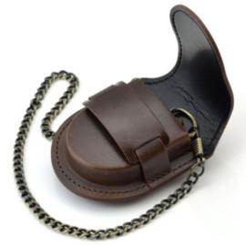 Lederen tas voor zakhorloge met ketting - DONKERBRUIN - 6,5 x 7,5 x 1,4 cm - replica