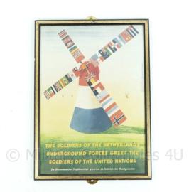 Wo2 Binnenlandse Strijdkrachten pamflet in lijst - 31x22x1,5 cm - Replica