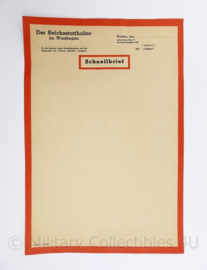 WO2 Duits ongebruikt document Schnellbrief der Reichsstatthalter im Warthegau - ongebruikt - 29,5 x 21 cm - origineel