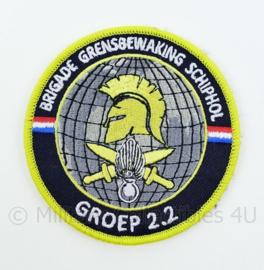KMAR Koninklijke Marechaussee Brigade Grensbewaking Schiphol Groep 2.2 embleem - met klittenband - diameter 9 cm
