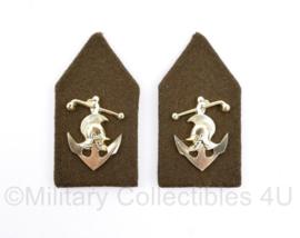 Defensie vorig model kraagspiegel paar DT - Wapen der Genie, Pontonniers -  8 x 4 cm - origineel