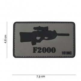 Embleem 3D PVC PVC - met klittenband -  F2000 Gun patch - 7,9 x 4,6  cm