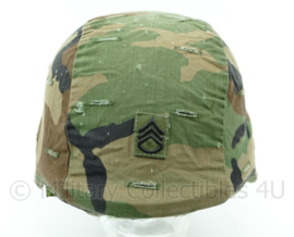 US Army Woodland helm cover PASGT met rang staff Sergeant - Maat medium/large - Origineel