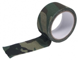 Stoffen camouflage tape voor uitrusting en dergelijke - 5cm breed en 10 meter lang -  Woodland