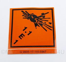 Defensie sticker explosieve stoffen 1.1 E 1 voor op munitiekisten - nieuw - 11 x 10 cm - origineel