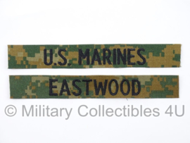 USMC US Marines 'EASTWOOD' branch tape/naamlint SET - marpat woodland camo - nieuw gemaakt