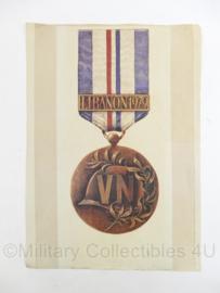 UN/VN United Nations Libanon medaille poster 1979 - 42 x 29,5 cm - origineel